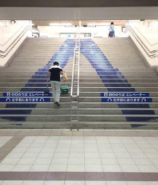 階段デニムアート